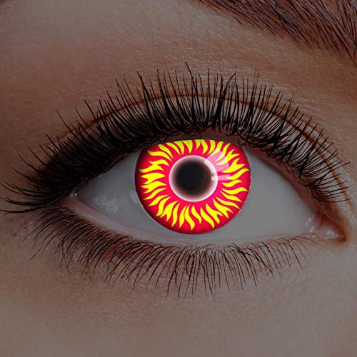 Farbige Kontaktlinsen Rot Gelb Ohne Stärke Motiv Eye Linsen Halloween Karneval Fasching Cosplay Kostüm Red Yellow Eyes Gelbe Rote Augen Fire Feuer UV Glow