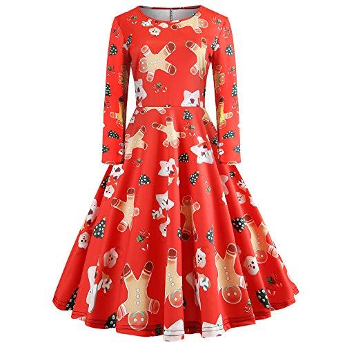 Yesmile Vintage Kleid Frauen Weihnachts Rockabilly Kleid Elegante Kleider Frauen Festliche...