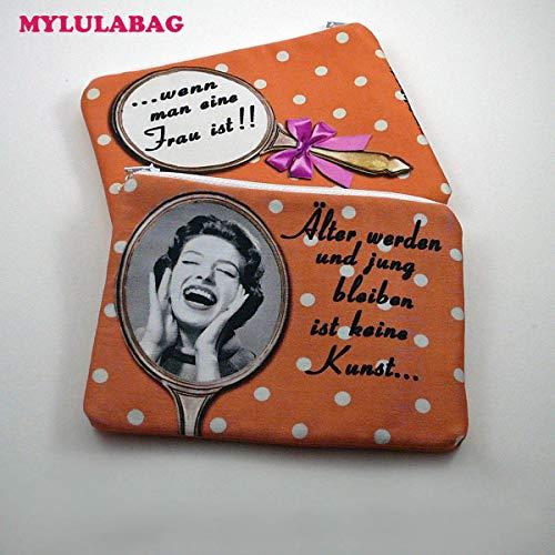 Damen handmade Kosmetiktasche Kosmetiketui Schminktasche bedruckt klein für Handtasche old shool - ÄLTER WERDEN - - Make-up Alten