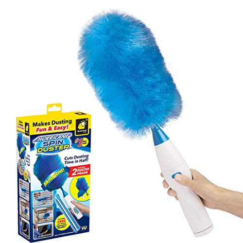 Luxuon Elektrischer Spin Duster,Haushaltsreiniger, Multifunctional Feather Dusters Electric Dust,360 ° Hurricane Spin Duster Motorisierte Staubwedel,Blau
