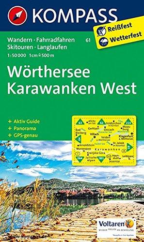 Preisvergleich Produktbild Wörthersee, Karawanken West: Wanderkarte mit Aktiv Guide, Panorama, Radwegen, Skitouren und Loipen. GSP-genau. 1:50000 (KOMPASS-Wanderkarten, Band 61)