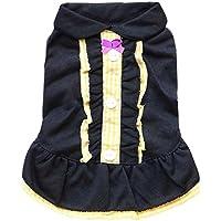 primavera estate cotone pelo animale domestico caldo morbido accogliente magliette in cotone signora bavero vestiti del cane 2 colori 4 formati 2 pezzi , black: yellow , m