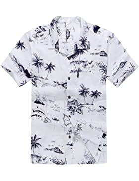 Uomini Aloha Shirt Camicia hawaiana Bianco Mappa Surfer