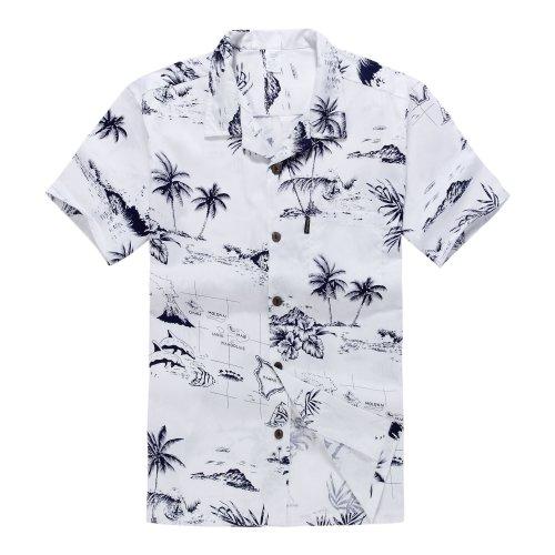 Hombres-Aloha-camisa-hawaiana-en-Mapa-y-Paisajes-Blanco-2XL