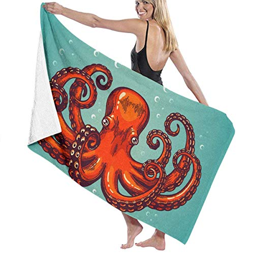 xcvgcxcvasda Serviette de bain, Beach Bath Octopus Tentacle Red Personalized Custom Women Men Quick Dry Lightweight Beach & Bath Blanket Great for Beach Trips, Pool, Swimming and Camping 31