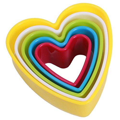 HENGSONG 5 teiliges Fondant Ausstecher Keksausstecher Plätzchenausstecher Backformen Plätzchenformen Ausstechformen Set, Herz