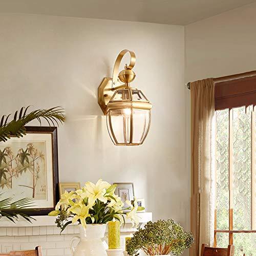 HangRay Art Deco Wandleuchte, Messing Lampen-Körper-transparente Glaslampenschirm Laterne Innen Fixture Beleuchtung - Beleuchtung für Nacht Wohnzimmer Esszimmer,18cm