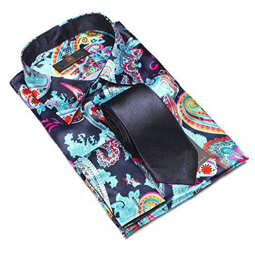 Herren lässig elegant Baumwolle Satin langärmlig Hemd   Krawatte Satz  Sammlung Blue   Black Paisley ... a61302e375