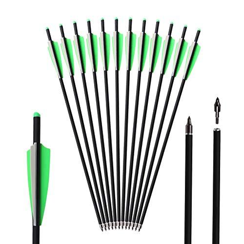 Toparchery 12er 20 Zoll Armbrustpfeile für Armbrust,Jagdpfeile mit Ersatz-Einschraubziel-Übungspunkt, Armbrust Bolzen für Armbrust, Carbon Pfeile für Bogenschießen ø 8.8 mm