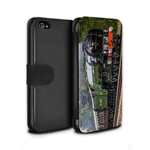 Stuff4 Coque/Etui/Housse Cuir PU Case/Cover pour Apple iPhone 4/4S / Duchess/Gare Design / Locomotive Vapeur Collection Tornado/Vert