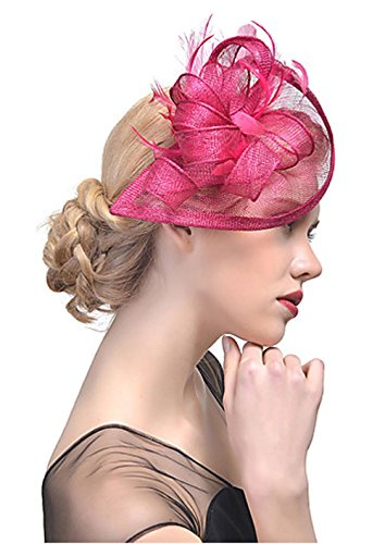 Flower-Ager Damen Hut, Acryl Haar Clip,Fuchsia