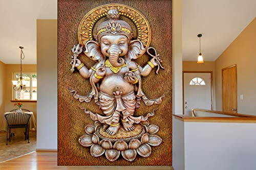 999Store 3D White Lord Ganesha Mural Wallpaper (Non-Wooven_Parent_White)