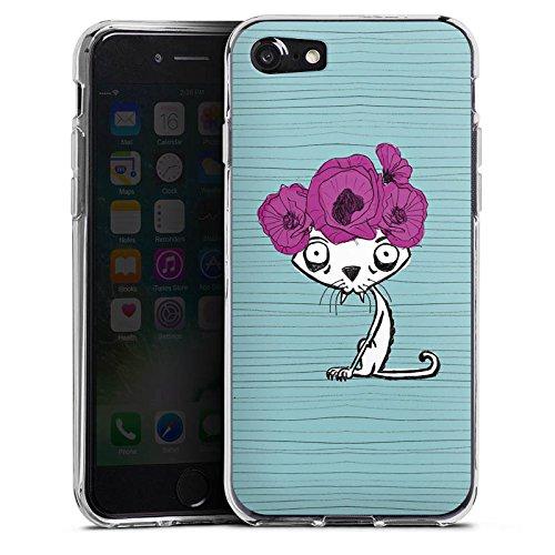 Apple iPhone X Silikon Hülle Case Schutzhülle Ugly Fashion Cat Katze Blumen Silikon Case transparent