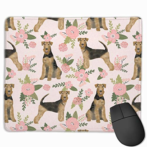 Airedale Terrier Dog Breed Pet Quilt Floral Coordinate_23473 Mouse pad Custom Gaming Mousepad Nonslip Rubber Backing 9.8