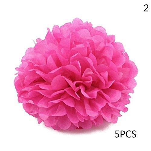 Golden Lank Tissue Paper Ball 5 Stück Papier Blume Ball Hängende Dekoration für Hochzeit Geburtstag Party Dekoration (#2)