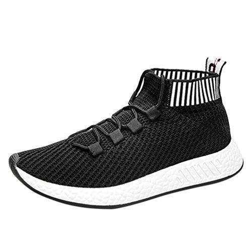 Ansenesna Sneaker Herren Sport Flach High Elastisch Atmungsaktiv Schnürschuhe Männer Outdoorschuhe Für Fitnessstudio (39, Schwarz) -