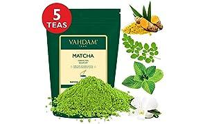 VAHDAM, Muestreador de Té Verde Matcha - 5 tés | Polvo de té Matcha de origen japonés puro 100% | 137x Anti-OXIDANTES | Energía, enfoque y metabolismo Booster | Té verde para bajar de peso