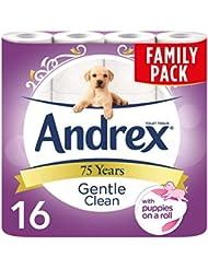 Andrex Gentle Clean Toilet Tissue Rolls, 16 Toilet Rolls