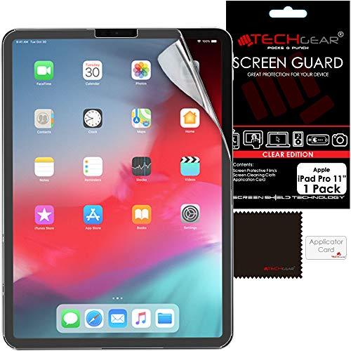 TECHGEAR Displayschutz für Apple iPad Pro 11 (11,0 Zoll) - Ultra Klare Schutzfolie für Apple iPad Pro 11 2018 [Face ID kompatibel] mit Reinigungstuch + Applikationskarte Klar 11