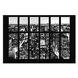 Vliestapete - Fensterblick Manhattan Skyline schwarz-weiss - Fototapete Breit Vlies Tapete Wandtapete Wandbild Foto 3D Fototapete, Größe HxB: 255cm x 384cm