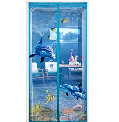 Dulplay telaio 3d velcro magnetica zanzariera magnetica porta finestra tenda della maglia porta magica mesh traspirabilità guarnizione fai da te finestra regolabile schermo-blu 80x205cm(31x81inch)