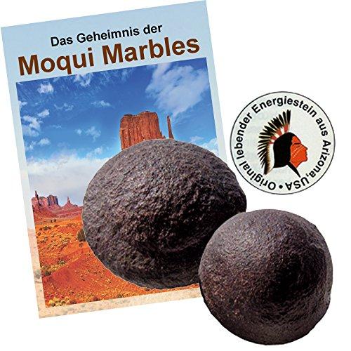 Moqui Marbles Paar ca. 2,5-3cm. MIT Zertifikat, deutschsprachigem BOOKLET 'Das Geheimnis der Moqui-Marbles' und Stofftäschchen.