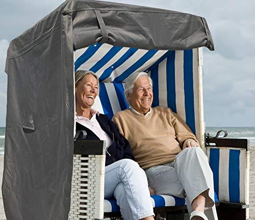 North Finest Premium Strandkorbhülle aus 600D Oxford | wasserdichte Strandkorb Schutzhülle | Atmungsaktiv | Winterfeste | Wetterfeste | Robuste Strandkorbabdeckung in Grau Anthrazit