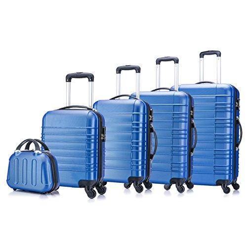 5 teiliges Koffer Set Hartschalenkoffer von Jalano Reisekofferset ineinander stapelbar Gepäck Set Koffer Trolley Hartschale in 5 Farben (blau)