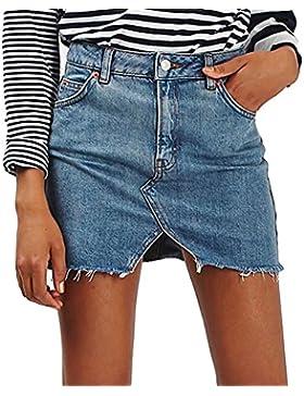 Mujeres Falda de Mezclilla - Moda Slim Fit Minifalda Cintura Alta A-lìnea Skirt Casual Falda Streetwear para Verano...
