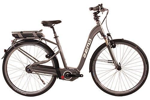City E-Bike 28 Zoll - Zemo ZE-8F Elektrofahrrad grau - Akkukapazität 400 WH, Riemenantrieb, 8-Gang Nabenschaltung mit Rücktritt