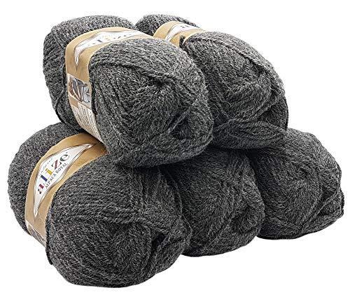 Alpaka Royal 5 x 100 Gramm Alize Strickwolle, 500 Gramm Wolle einfarbig (anthrazit 182) - Alpaka-wolle Stricken Pullover