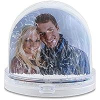Schneekugel mit eigenem Foto, 9x8cm Individuelle Geschenkidee Zum Selbstgestalten Ideales Weihnachts-Geschenk | Schüttelkugel mit Kunststoff-Schneeflocken | Glitzerkugel als Fotogeschenk selbst gestalten | Deko-Artikel mit Wunsch-Bild