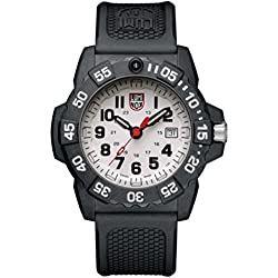Luminox new NavySEAL carbon compound 3500 series Watch with carbon compound Case Silver|Gray Dial and PU Black Strap XS.3507