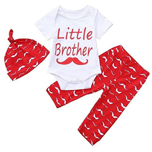 Saihui Girls Boys Jumpsuit Clothing Sets, 3PCS Infant Toddler Baby Cute Set Letter Print Short Sleeve Romper Tops+Pants+Hat Playsuit Bodysuit Outfits Clothes