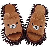 Fregona Zapatillas de piso Microfibra Lavable Patrón de oso de dibujos animados Parejas Fregona Zapatillas de piso Chenilla Zapatillas desmontables Piso Polvo Limpiador de cabello para hombres Mujeres