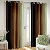 Super India Multi-Colour Fancy Polyester Eyelet Faux Silk- Premium Home Living Curtains Set of 2 Pcs