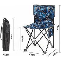 HRRH Camuflaje plegable silla de pesca al aire libre Portable Recreación al aire libre Volver Art Sketch Cómodo sillón, blue