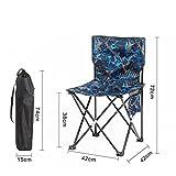 HRRH Camouflage Klappstuhl Angeln Outdoor Tragbare Outdoor Freizeit Zurück Kunst Skizze Komfortable Lounge Chair, blue