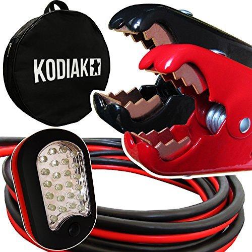 Kodiak Auto Heavy Duty 1Gauge x 25ft Jumper Kabel mit Tasche [Bonus Magnet LED Taschenlampe]–Boost von Hinter anderen Fahrzeug–800Amp Akku Booster Kabel für Car & Truck (1AWG x 25Füße)