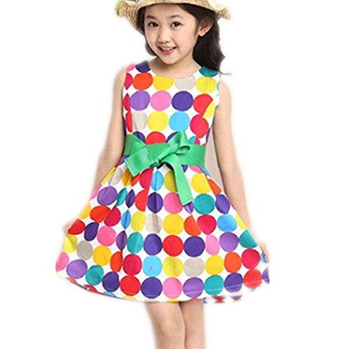 Oyedens Polka Dot Mädchen Chiffon- nettes Kleid Bogen schwingen breite (100CM/ Höhe(85-95CM/33.5-37.4