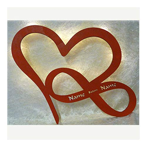 Schlummerlicht24 Led Herz Liebe mit Namen und Datum zur Verlobung Jahrestag Hochzeitsgeschenke Valentinstag Freund Freundin Partner ich dich i Love You Geschenk (Rot)