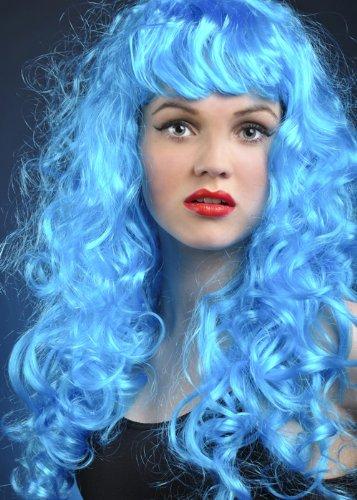 Billig Geschweiften Perücken - Pantomime Dame Blau geschweiften Siren