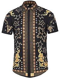 0af864b679058 BOLAWOO Camisa Hombre Verano Elegantes Estampadas Vintage Hippies Street  Style Moda Manga Corta Cuello Solapa Un