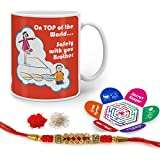 Indigifts Raksha Bandhan Gifts For Brother Saftey Only With Bro Quote Printed Gift Set Of Mug 330 Ml, Crystal Rakhi For Brother, Roli, Chawal & Greeting Card - Rakhi Gifts For Brother, Rakshabandhan Gifts, Rakhi For Brother With Gifts
