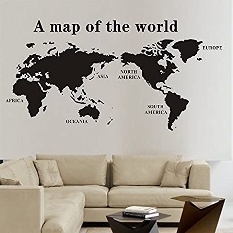 Cybernova extraíble un mapa del mundo Vinilos decorativos Wall Sticker Familia Vinilo decoración de la pared para la sala