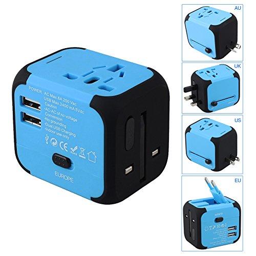 Preisvergleich Produktbild Goldfox® Universal Welt Reiseadapter Mit 2 USB Ladegerät Reisestecker Adapter World Travel Adapter für Weltweit 150 Ländern mit EU/UK/US/AU Stecker LED-Betriebsanzeige (Blau)