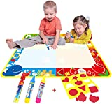Big Magic Water Doodle Mat/Water Drawing Painting Mat(100cm x 73cm)with 4 Color,CJbrother Magnetic doodle Learning Painting Doodle Scribble Boards with Magic 3 Pen and 1 EVA Graphic