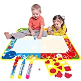 Big Magic Water Doodle Mat/Water Drawing Painting Mat(100cm x 73cm)with 4 Color, CJbrother Magnetic doodle Learning Painting Doodle Scribble Boards with Magic 3 Pen and 1 EVA Graphic