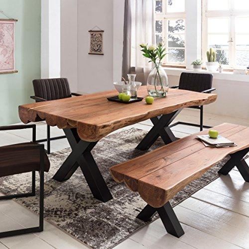 FineBuy Esszimmertisch 200 x 100 x 77 cm Akazie Landhaus-Stil Voll-Holz | Design Esstisch rechteckig | Tisch für Esszimmer Baumstamm | Küchentisch 8 Personen