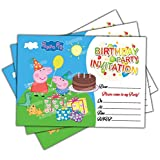 Invitations 20 x Peppa Pig Kids Birthday Party Invites Cards Quality Boys Girls